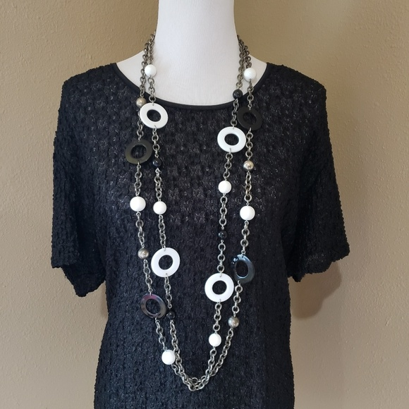 Dauplaise Jewelry - Vtg Dauplaise 80's White and Black Necklaces